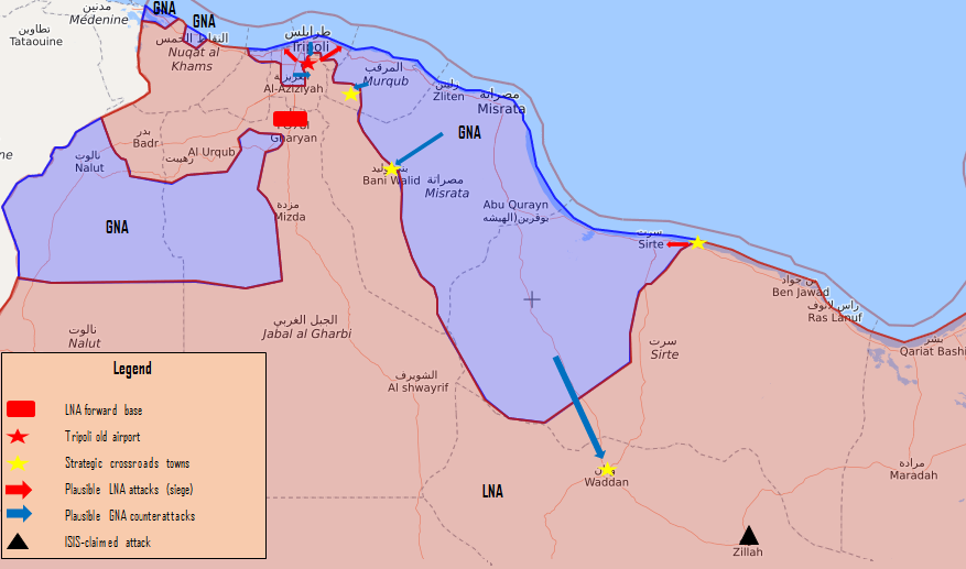 LNA Positions outside Tripoli, Libya as of May 23, 2019 (graphic by author)