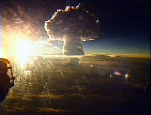 Mushroom cloud of the Tsar Bomba hydrogen bomb.